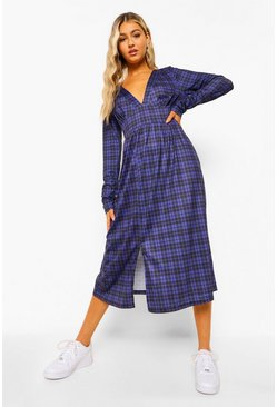 Navy Tall Woven Long Sleeve Check Print Midi Dress