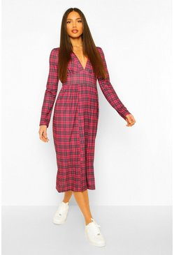 Red Tall Woven Long Sleeve Check Print Midi Dress