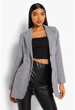 Black Tall Woven Dogtooth Puff Sleeve Pocket Blazer