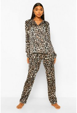 Brown Tall Satin Leopard Print Pyjama Trouser Set