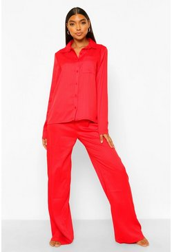 Red Tall Jacquard Striped Pajama Pants Set