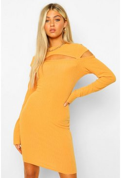 Tall Soft Rib Cut Out Mini Dress, Mustard amarillo
