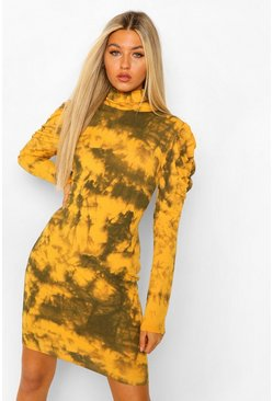 Mustard Tall Rib Tie Dye Puff Sleeve Mini Dress