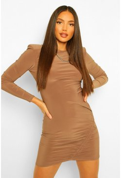 Mocha beige Tall Slinky Shoulder Pad Ruched Dress