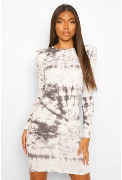 Tall Rib Tie Dye Shoulder Pad Dress, Black negro