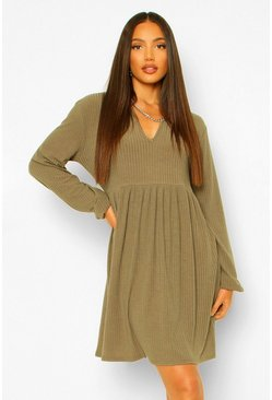 Khaki Tall Rib Ruffle Collar Smock Dress