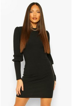 Black Tall Rib Puff Sleeve Mini Dress