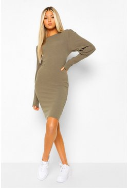 Khaki Tall Rib Puff Sleeve Mini Dress