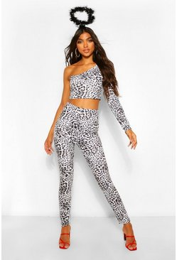 Black Tall Halloween Leopard Print Leggings