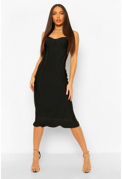 Black Tall Bandage Frill Hem Midi Dress