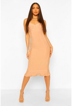Blush pink Tall Bandage Frill Hem Midi Dress