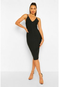Black Tall Bandage V-Neck Bodycon Midi Dress
