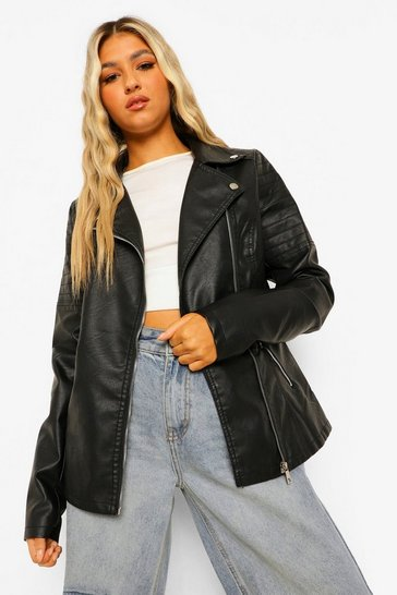 Black Tall Faux Leather Biker Jacket