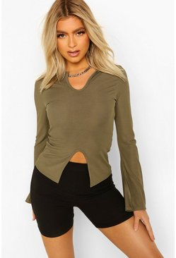 Khaki Tall Rib Long Sleeve Notch Neck Crop Top