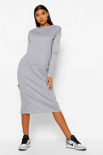 Grey Tall Long Sleeve Shoulder Pad Midi Dress
