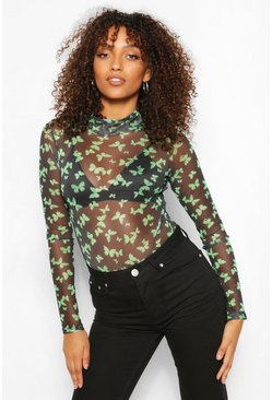 Green Tall Butterfly Print Mesh Bodysuit