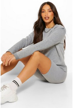 Tall Long Sleeve Shoulder Pad Sweater, Grey gris
