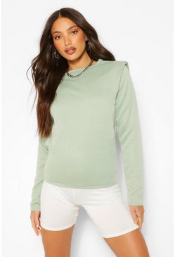 Sage green Tall Long Sleeve Shoulder Pad Sweater