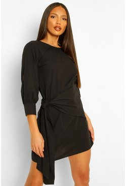 Black Tall Wrap Front Woven Mini Dress