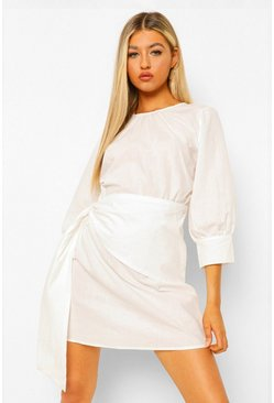 White Tall Wrap Front Woven Mini Dress