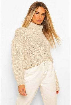 Tall Knitted Roll Neck Volume Sleeve Jumper, Ecru blanco