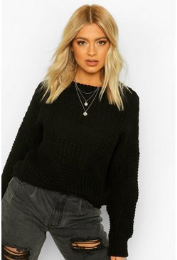 Black Tall Heavy Knit Oversized Jumper