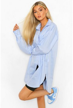 Blue Tall Basic Oversized Cotton Shirt