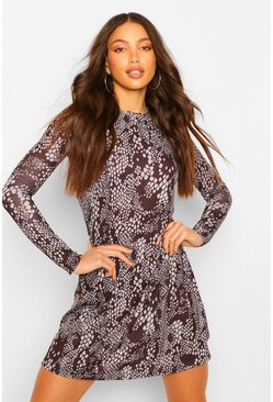 Black Tall Snake Print Smock Dress