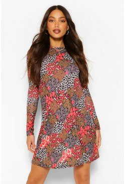 Red Tall Leopard and Floral Print Smock Skater Dress
