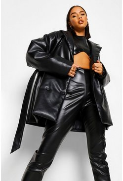 Black Tall PU Wrap Around Belted Coat