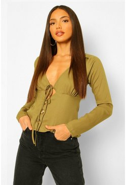 Khaki Tall Woven Ruched Bust Tie Front Blouse