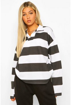 Black Tall Striped Rugby Top