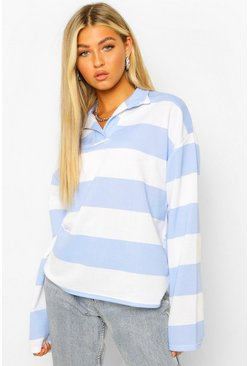 Blue Tall Striped Rugby Top