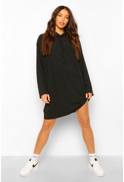Black Tall Rib Hooded Sweat Dress