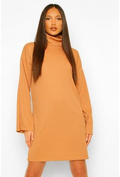 Caramel beige Tall Roll Neck Split Sleeve Shift Dress