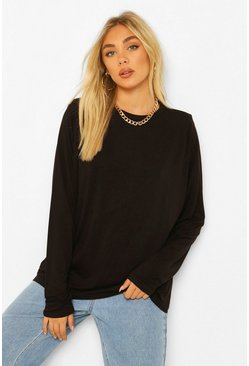 Black Tall Long Sleeve Shoulder Pad Top