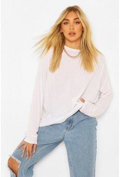 White Tall Long Sleeve Shoulder Pad Top