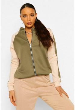 Khaki Tall Colour Block Bomber Jacket