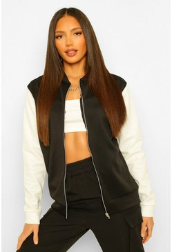 Black Tall Colour Block Bomber Jacket