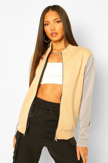 Stone beige Tall Colour Block Bomber Jacket