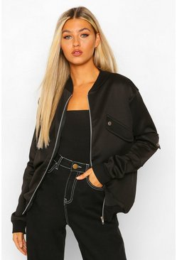 Black Tall Pocket Detail Bomber Jacket