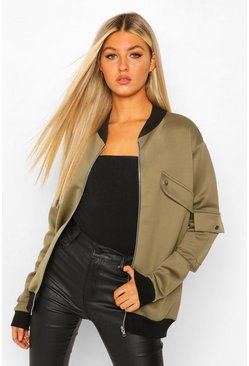 Tall Pocket Detail Bomber Jacket, Khaki khakifarben