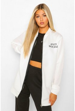 Tall 'Anti Social' Longline Bomber Jacket, White weiß