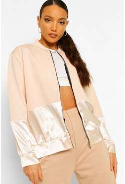 Blush pink Tall Satin Panel Bomber Jacket