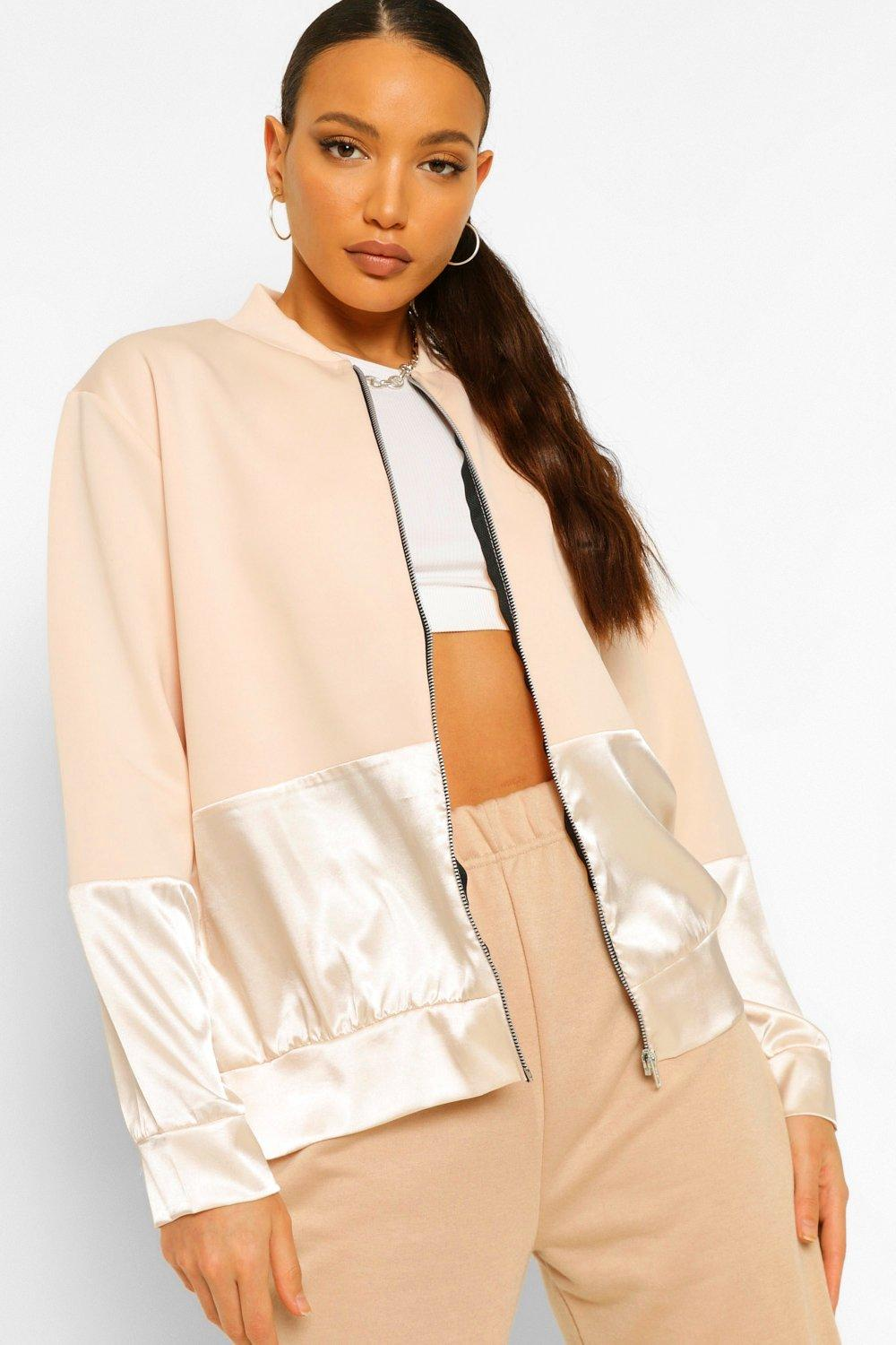 NEW IN Tall Satin Panel Bomber Jacket