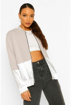 Grey Tall Satin Panel Bomber Jacket