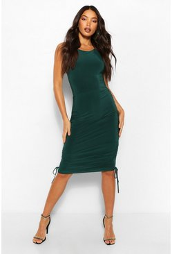 Emerald green Tall Ruched Slinky Bodycon Mini Dress