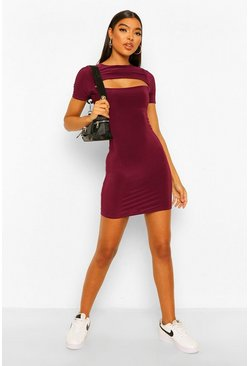 Berry Tall Cut Out Slinky Bodycon Dress