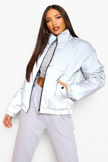 Silver Tall Reflective Cropped Padded Coat
