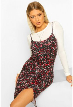 Black Tall Floral 2-in-1 Long Sleeve Midi Slip Dress